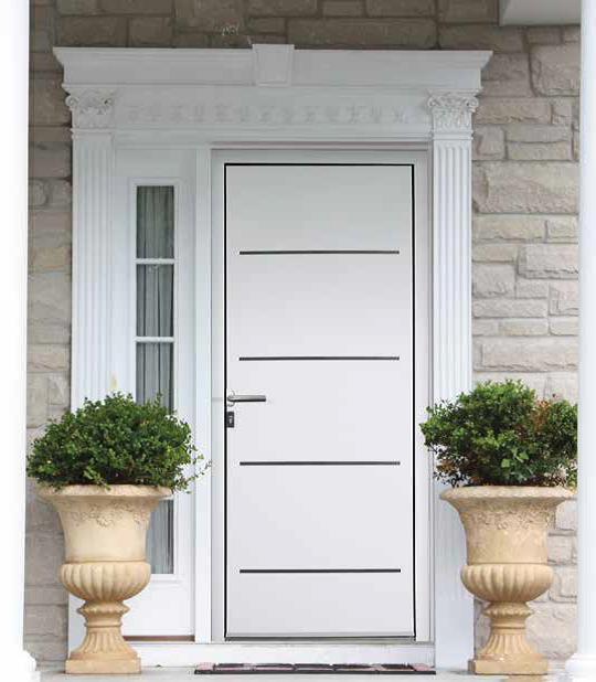 Porte d 39 entr e gamme contemporaine portes d 39 entr e rhodes alnox 30mm le d clic voironnais - Porte entree contemporaine ...