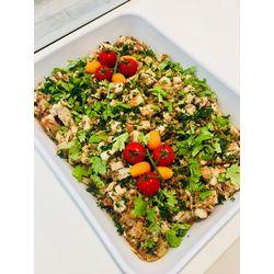 Suggestion du jour : émincé de blanc de poulet à l'asiatique, (sauce soja, légumes, coriandre fraîche), riz basmati