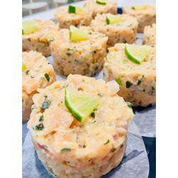 Suggestion du jour : tartare aux 2 saumons et au citron vert, riz basmati
