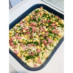 Suggestion du jour : sauté de veau à la moutarde, pois chiches et jambon cru en chiffonnade, riz basmati