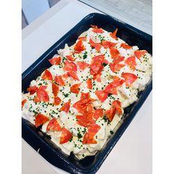 Suggestion du jour : émincé de blanc de poulet au St Marcelin et chorizo, tagliatelles maison