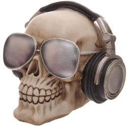 Skull avec casque dj et lunette d'aviateur