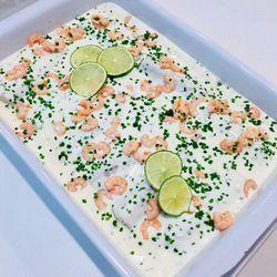 Suggestion du jour : dos de cabillaud, crème légère citron vert, ciboulette et crevettes, riz basmati