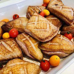 Suggestion du jour : magret de canard juste rôti au jus, tagliatelles maison
