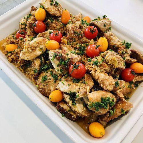 Suggestion du jour : médaillons de pintade aux petits légumes marinés et  riz basmati
