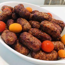 Suggestion du jour : mini saucisses grillés à l'ail des ours et pommes dauphines dodues 