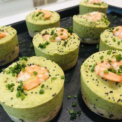Suggestion du jour : bavarois de saumon, crevettes et asperges, riz basmati et haricots verts frais