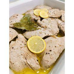Suggestion du jour : steak de thon poêlé au citron et à l'huile d'olive, riz basmati