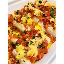 Suggestion du jour : dos de cabillaud soleil aux tomates et mangues rôties, riz basmati