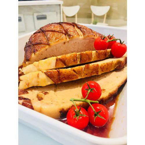 """Suggestion du jour : jambon """"extra tendre"""", rôti à l'orange et au mieL, tagliatelles maison"""