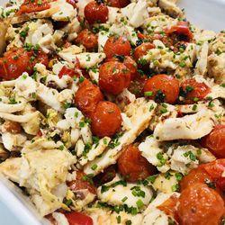 Suggestion du jour : émincé de blanc de poulet rôti et petits légumes confits, riz basmati