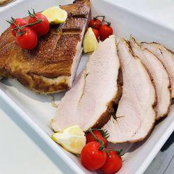 Suggestion du jour : jambon rôti, mariné, cuit à basse température et tagliatelles fraîches fabriquées maison