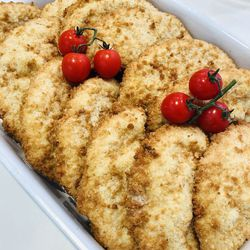 Suggestion du jour : véritable cordon bleu (poulet, bacon, comté) et aubergines fondantes
